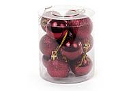 Набор елочных шаров (12шт) 4см, бордовый