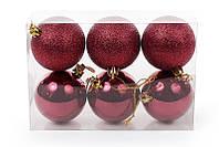 Набор елочных шаров (6 шт) 6см, бордовый