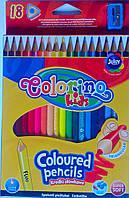 Карандаши Цветные 18 цв. треугольные с точилкой 57431PTR Colorino Польша