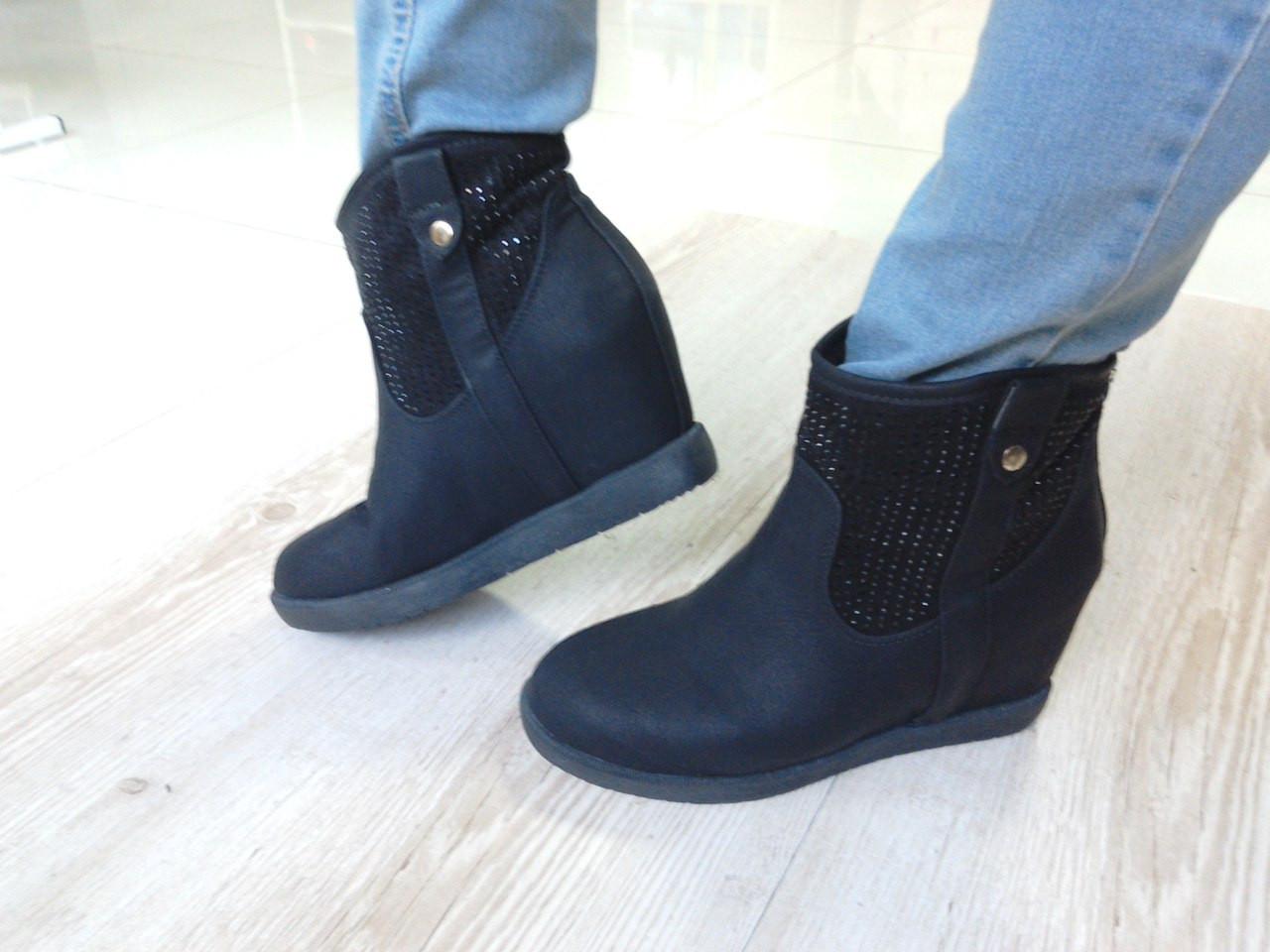 0605166e Стильные зимние женские ботинки на скрытой танкетке, черные: продажа ...