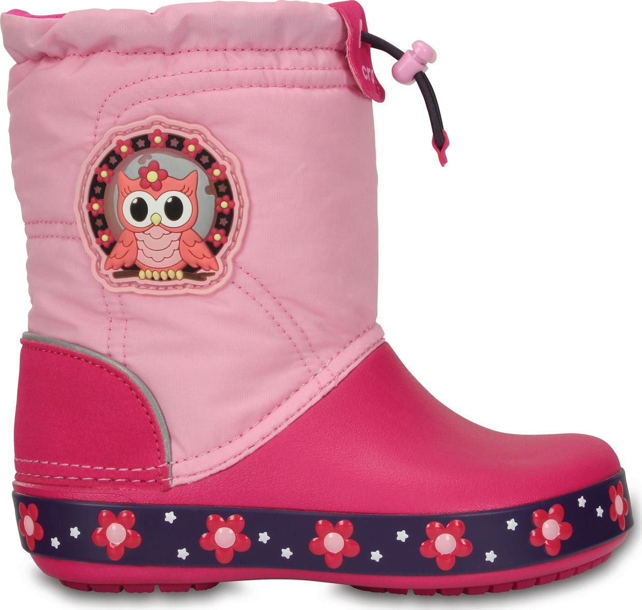 276668cc1 Сапоги зимние для девочки Crocs Kids CrocsLights LodgePoint Night Owl Boot  / непромокаемые светящиеся Сова, ...