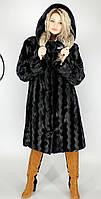 Женская искусственная шуба большого размера черная норка  М-37 48-62  размеры