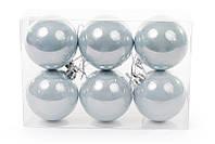 Набор елочных шаров (6 шт) 6см, голубой