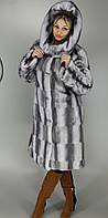 Женская искусственная шуба большого размера серо-голубая норка  М-37 48-62  размеры