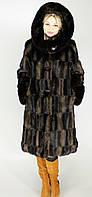 Женская искусственная шуба большого размера коричневая норка  М-37 48-62  размеры