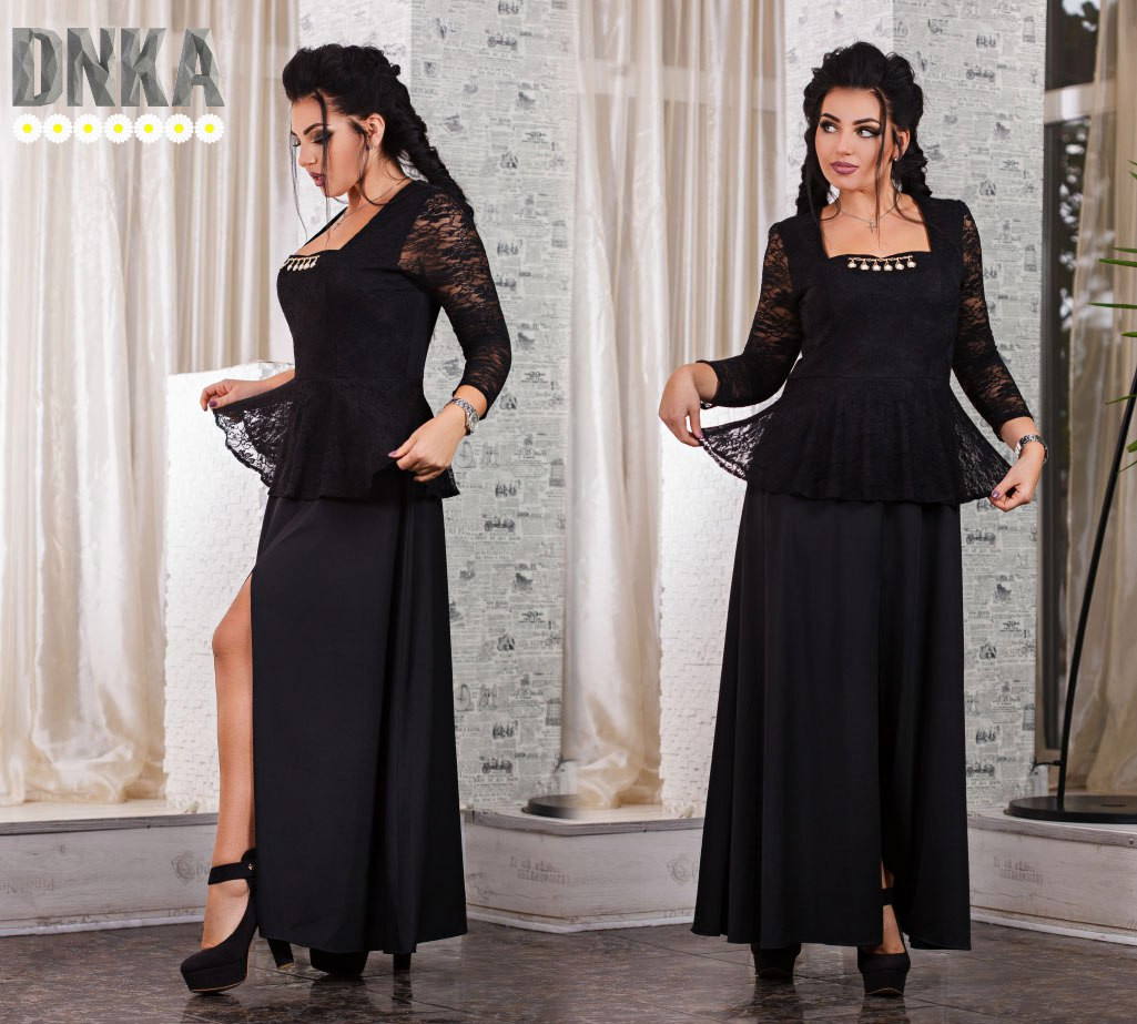 e3f649b44a92a8b Вечернее платье с баской дайвинг+ гипюр , цена 605 грн., купить в Одессе —  Prom.ua (ID#405111526)