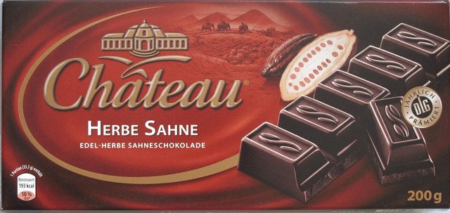 Немецкий горький шоколад Chateau Herbe Sahne, черный 200г.