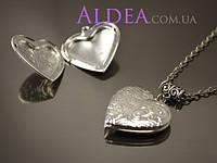 Медальон Сердце с цветами на цепочке, серебро