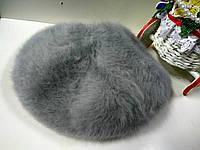 Берет женский зимний ангоровый на ножке цвет серый