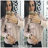 Женский теплый свитер под горло трикотаж (крупная машинная вязка) цвет розовый, фото 1