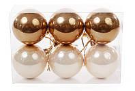 Набор елочных шаров (6 шт) 6см, шампань