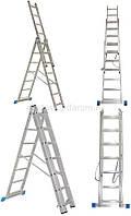 Лестницы алюминиевые универсальные трехсекционная 3х10, 3х11, 3х12