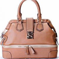 Женская сумка бежевого цвета из натуральной кожи