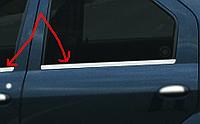 Dacia Logan II 2008-2013 гг. Наружняя окантовка стекол (4 шт, нерж) OmsaLine - Итальянская нержавейка