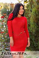 Вязанное красное платье полубатал