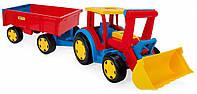 """Игрушка трактор """"Гигант""""с прицепом и ковшом ТМ Wader (66300"""
