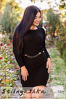Вязанное черное платье полубатал