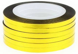 Лента золотая, клейкая для дизайна 2 мм.