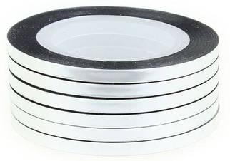 Лента серебро, клейкая для дизайна 2 мм.