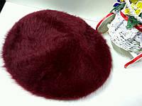 Берет женский зимний бордового цвета на ножке