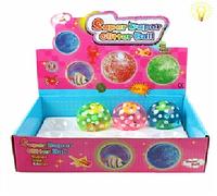 Игрушки. Мяч попрыгун 681-1, +световые эффекты, 12 шт. в упаковке,6,5 см, внутри рыбка, мяч-прыгун светящийся