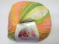 Пряжа baby wool batik - цвет кремово-желто-зелено-розовый меланж