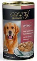 Edel Dog консервы для собак кусочки в соусе 3 вида мяса 1,2кг*6шт