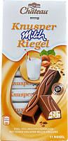 Немецкий шоколад Chateau Knusper Milch Riegel молочный с кусочками фундука и кукурузными хлопьями 200г.