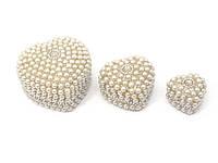 Шкатулки из металла с бусинами набор 3 шт
