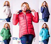 Женская зимняя куртка с трикотажным капюшоном №0012 (р.42-50)