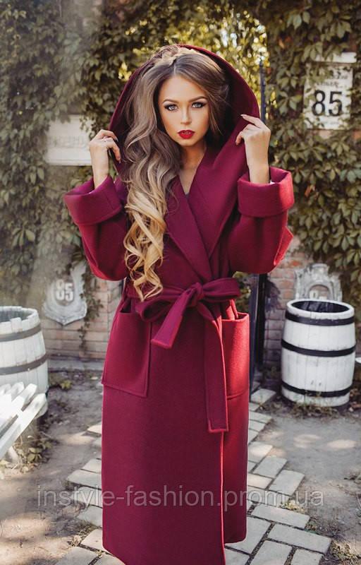 Кашемировое пальто с капюшоном на синтепоне цвет бордовый