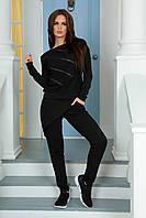 Трикотажный костюм свитшот и брюки черный