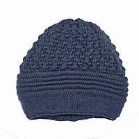 Женская зимняя шапка. Двойная вязка. Синяя