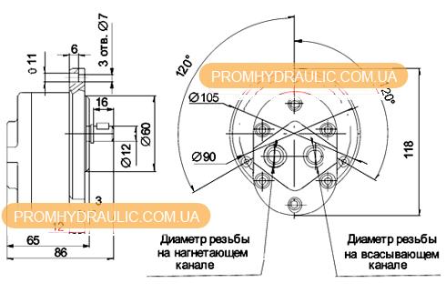 Шестерённый насос А Г11-11А: характеристики, габаритные и присоединительные размеры.