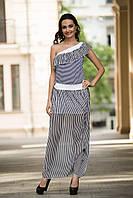 Длинное шифоновое платье в полоску