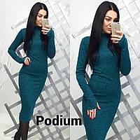 Женское повседневное платье турецкая меланжированая Рибана цвет изумруд