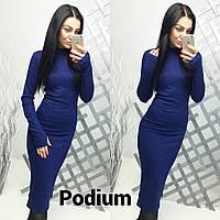 Женское повседневное платье турецкая меланжированая Рибана цвет синий, фото 1