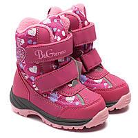 Зимние сапоги B&G для девочки, розовое сердечко, размер 23-28