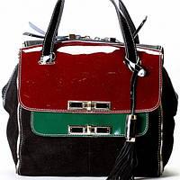 Женская сумка Velina Fabbiano черный замша с лаковыми языками