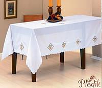 Скатерть 160х220 KAYAOGLU Uzumlu, белая с вышивкой виноград.