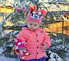 Микки Маус, Девочка. 2 слоя, внутри х/б.  р.46-50 коралл, т.розовый,, светлый джинс.