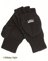Вязаные перчатки-варежки с утеплителем Thinsulatе, black