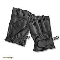 Кожаные безпалые перчатки Defender, black