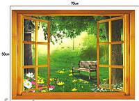 Декоративная интерьерная наклейка - окно в сад