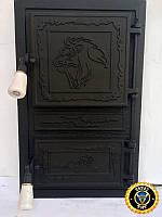 Печная дверца Лев Капский, чугунные дверки для печи и барбекю