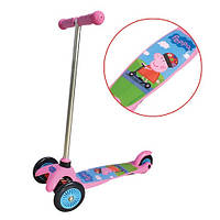 Детский скутер - PEPPA (3-х колесный, 2 колеса впереди, тормоз). Арт. Т57617