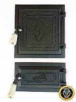 Печная дверца Лев Нубийский, чугунные дверки для печи и барбекю