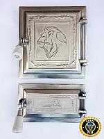 Печная дверца Лев Сенегальский, чугунные дверки для печи и барбекю
