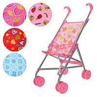 Коляска 9302 W  для куклы,жел,зонтик,двойные колеса,поворот,55-49-26см,выс.до руч 53см,5 видов