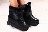 Модные кожаные ботиночки на танкетке высокой с мехом натуральным
